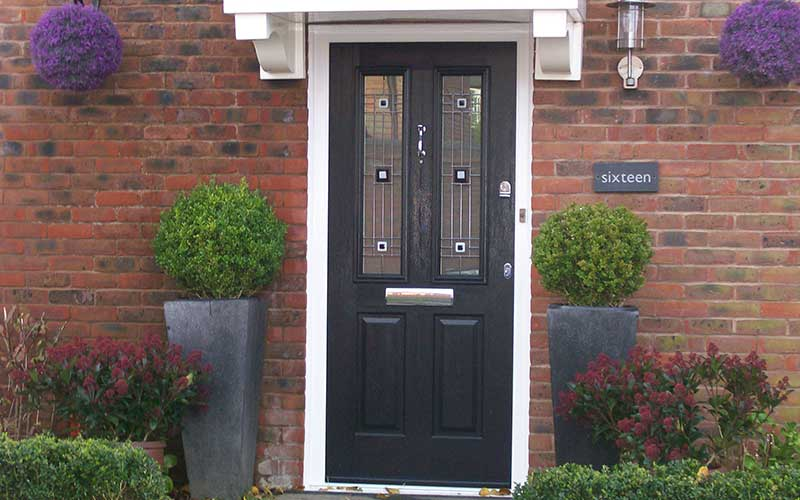 Black composite front door with bespoke glass designQuality double glazed windows  doors   conservatories   Albion Windows. Double Glazed Front Door Prices Uk. Home Design Ideas