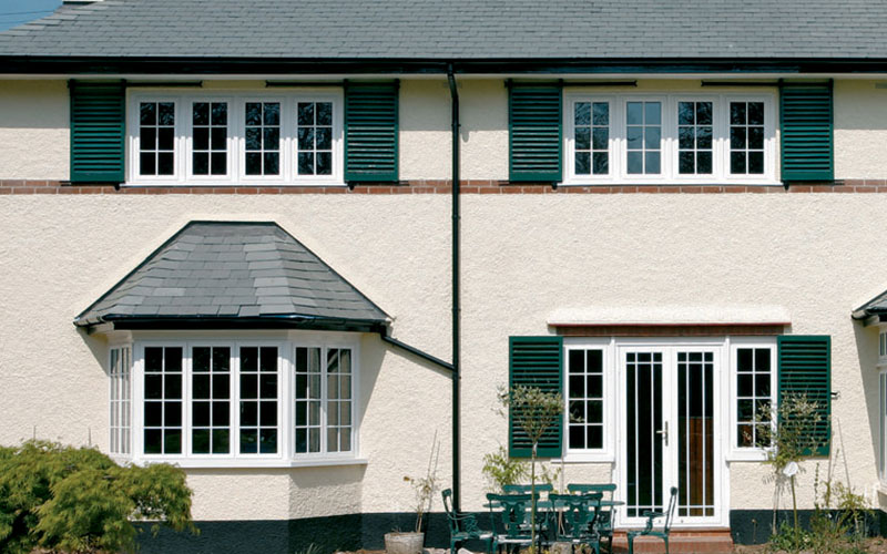Aluminium windows in white