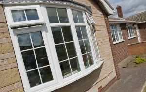 Bow shaped windows in white