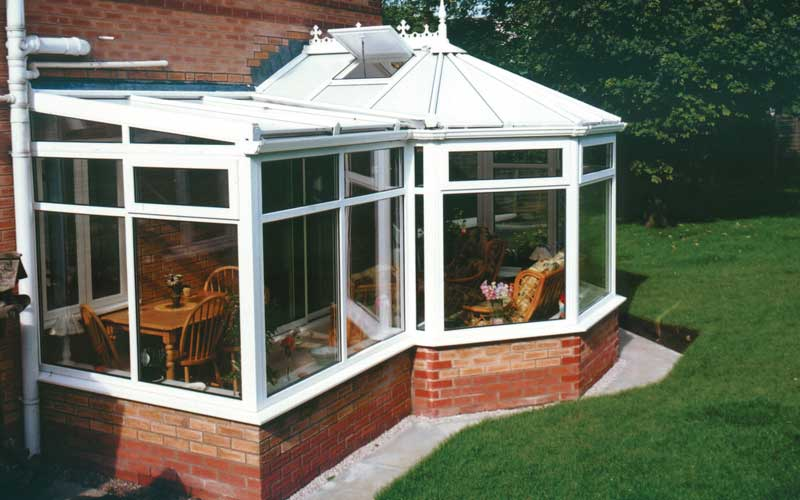 P shape conservatory in white