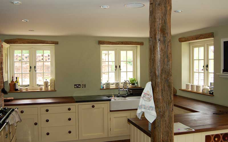 Timber windows internal view with traditional hardware