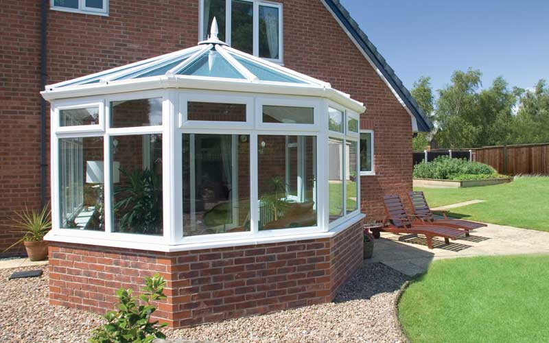 Victorian conservatory with brick base